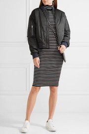 MICHAEL Michael Kors Striped ribbed stretch-knit turtleneck dress