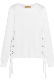 MICHAEL Michael Kors Lace-up ribbed cotton sweater