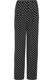Polka-dot crepe wide-leg pants