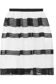 Paneled crocheted lace skirt