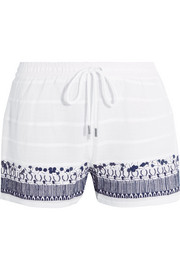Embellished embroidered cotton shorts