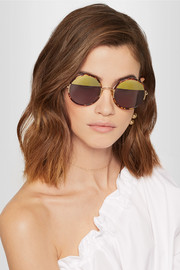 Yetti round-frame acetate and gold-tone mirrored sunglasses