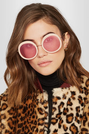 Arabella round-frame acetate and gold-tone sunglasses