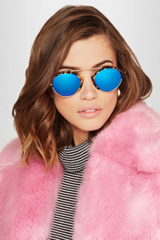 Illesteva Milan III round-frame acetate and gold-tone mirrored sunglasses