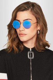 Porto Cervo round-frame gold-tone mirrored sunglasses