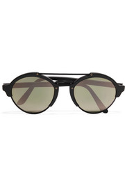Illesteva Milan II round-frame acetate and metal mirrored sunglasses