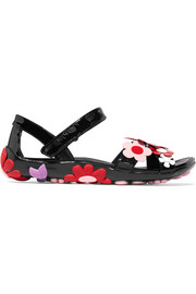 Floral-appliquéd patent-leather sandals