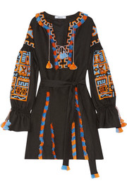 Sahara fringed embroidered linen mini dress