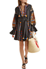 MARCH11 Sahara fringed embroidered linen mini dress