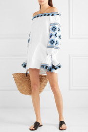 Geometry off-the-shoulder embroidered linen mini dress