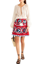Aliona embroidered linen mini skirt