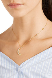 Crescent Moon and Small Star gold-tone topaz necklace