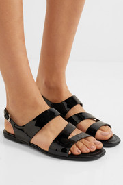 Cutout patent-leather sandals
