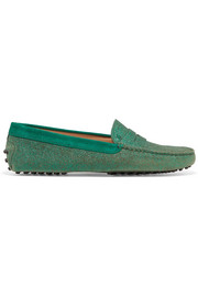 Tod's Gommino suede-trimmed glittered leather loafers