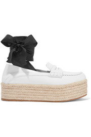 Miu Miu Lace-up leather platform loafers