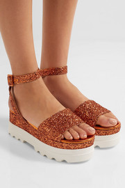 Miu Miu Glittered leather platform sandals