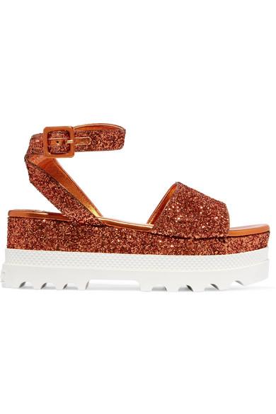 Miu Miu - Glittered Leather Platform Sandals - Orange