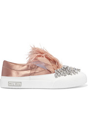 Miu Miu Embellished satin slip-on sneakers