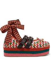 Lace-up woven leather platform espadrilles