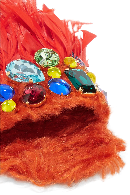 Miu Miu Crystal-embellished shearling and feather slides