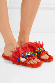 Crystal-embellished shearling and feather slides