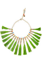 Rosantica Aloha gold-tone, straw and quartz necklace