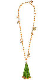 Rosantica Aloha gold-plated, straw and quartz necklace