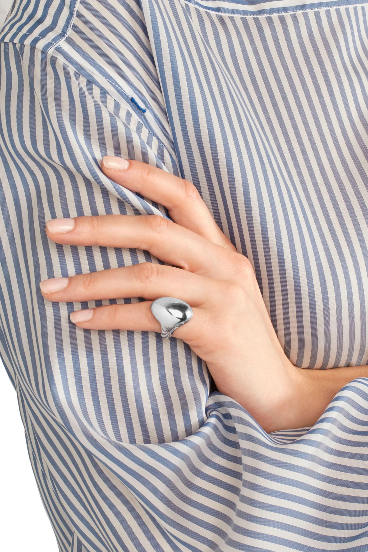 Jennifer Fisher Glatter versilberter Ring für den kleinen Finger