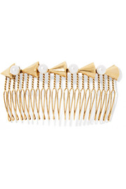 Faux pearl-embellished gold-tone hair slide