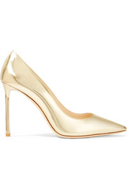 Romy 100 mirrored-leather pumps