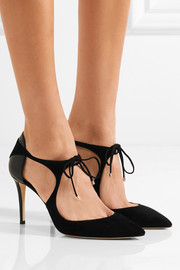 Vanessa cutout suede and leather pumps