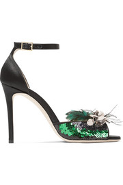 Jimmy Choo Annie sequin and feather-embellished satin sandals