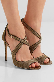 Jimmy Choo Emily leather-trimmed textured-lamé sandals