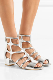 Ren cutout mirrored-leather sandals