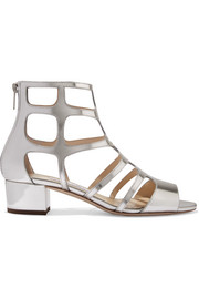 Jimmy Choo Ren 35 cutout mirrored-leather sandals