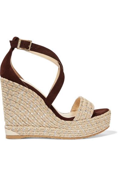 jimmy choo female jimmy choo portia suede wedge sandals brown