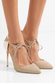 Jimmy Choo Vanessa cutout snake-effect nubuck and patent-leather pumps