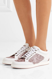 Jimmy Choo Miami glitter-paneled leather sneakers