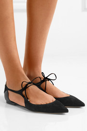 Jimmy Choo Vanessa cutout suede and leather point-toe flats