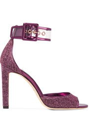 Jimmy Choo Moscow PVC-trimmed Lurex sandals