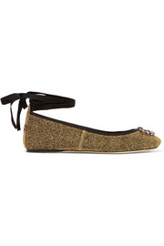 Jimmy Choo Grace crystal-embellished textured-lamé ballet flats