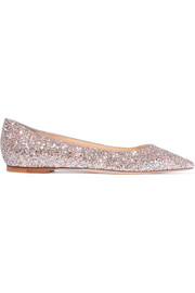 Jimmy Choo Romy glittered leather point-toe flats