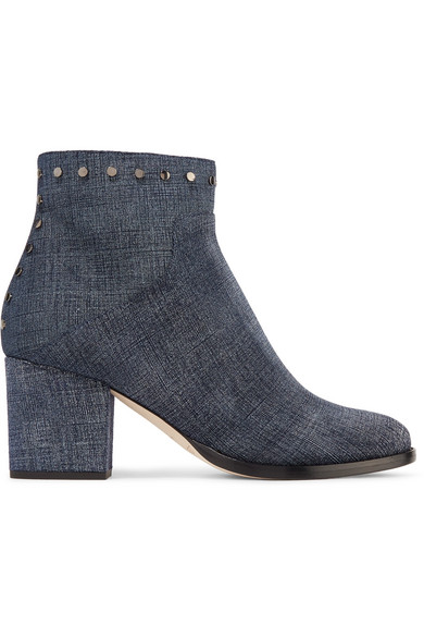 Jimmy Choo - Melvin Studded Printed Leather Ankle Boots - Indigo