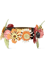 Prada Floral-appliquéd textured-leather bracelet