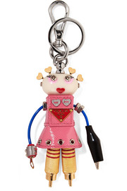 Cheer Robot embellished textured-leather keychain