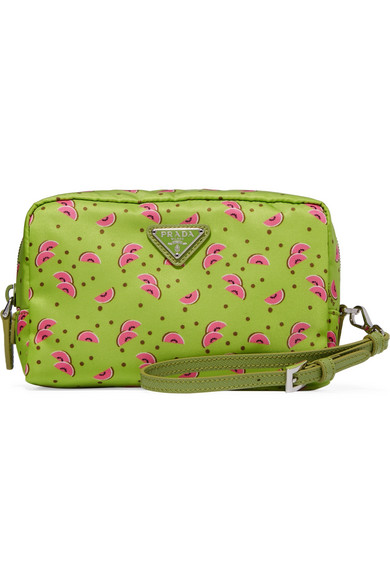 Prada - Textured Leather-trimmed Printed Shell Cosmetics Case - Green