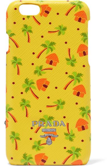 Prada - Printed Textured-leather Iphone 6 Case - Yellow