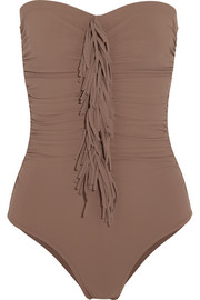 Karla Colletto Fresco fringed ruched bandeau swimsuit