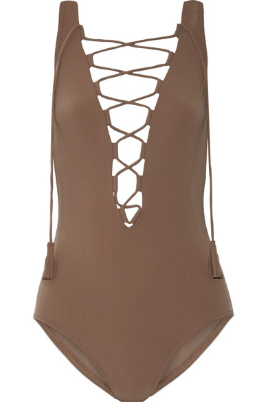Karla Colletto - Entwined Lace-up Swimsuit - Mushroom