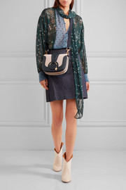 See by Chloé Hana small textured-leather and suede shoulder bag